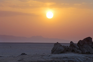 Sunrise at Chott El Jerid, desert dry salt lake in Sahara