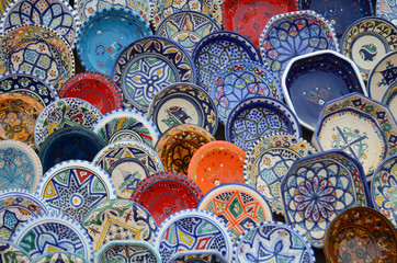 multicolor sovenir earthenware in tunisian market, Sidi Bou Said