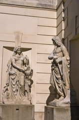 Mythological architectural details at Hofburg palace in Vienna
