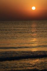 Landscape in Tunisia, sunrise on the beach