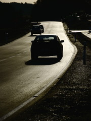 street sunset silhouette cars