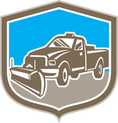 Snow Plow Truck Shield Retro