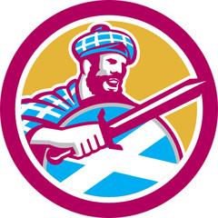 Highlander Scotsman Sword Shield Circle Retro
