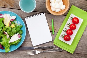 Fresh healthy salad, tomatoes, mozzarella