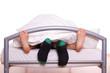 canvas print picture - Füße bei Sex - Mann mit Socken
