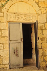 The main door to the church in Bar'am NP, Israel
