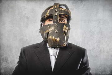 office, dangerous business man with iron mask and expressions