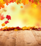 Fototapety Autumn background with wooden planks