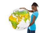 Junge afro amerikanische Frau hält einen Globus in der Hand