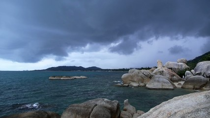 Rocky Shore before Storm. Slow Motion.
