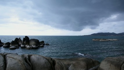 Rocky Shore before Storm. Thai Sea Coast.
