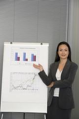 Asian businesswoman giving presentation