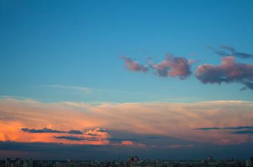 Evening cloudscape in city