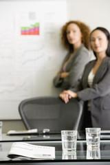 Multi-ethnic businesswomen giving presentation