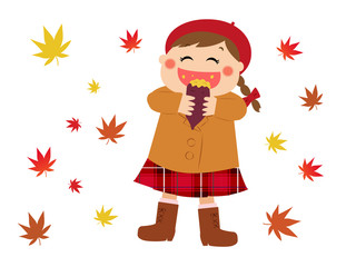 A girl eating a sweet potato happily, autumn image
