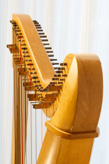 Celtic harp close-up with angle