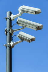 Security cameras on pole
