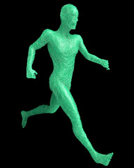 Figura astratta uomo che corre su sfondo nero