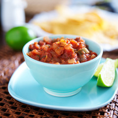 mexican salsa in blue bowl