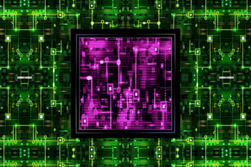 Pink IC Chip in Circuit Board