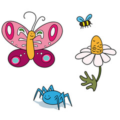 vector beetles set with butterfly and spider