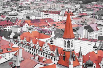 View of historic Munich city center. Munchen, Germany