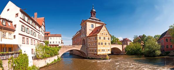 Das malerische Alte Rathaus von Bamberg in Franken