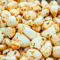 Close up shot of seasoned Pickled Garlic