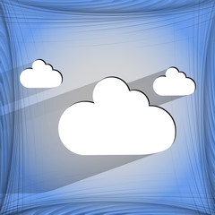 Cloud download application web icon on a flat geometric abstract