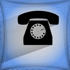 Retro telephone. Flat modern web button on a flat geometric