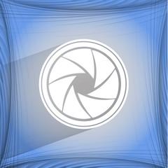 Photo camera diaphragm. Flat modern web button on a flat