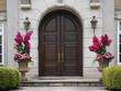 wooden double doors with flower pots - 68453730