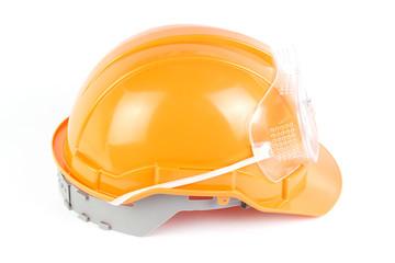 Orange Safety helmet and goggles