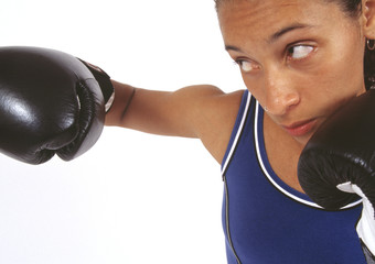 African woman boxing