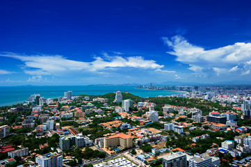 Pattaya Thailand, cityscape with blue sky