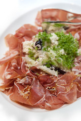 Shaved Prosciutoo Ham with Ricotta, Black Olives and Cucumber