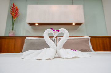 Fold Towel Swan on bed
