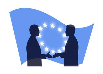 handshake against the European Union flag
