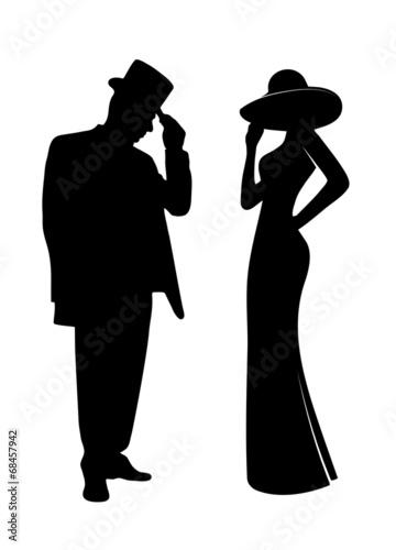 Fototapeta glamorous people silhouettes