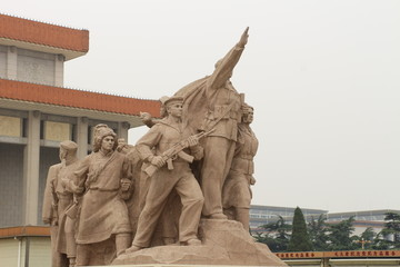 Revolutionary statues at Tiananmen Square in Beijing,China