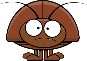 Cartoon Cockroach Frowning