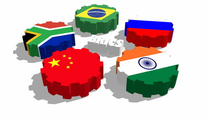 brics members national flags on gears