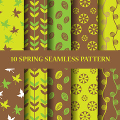 green and brown sping seampless pattern set