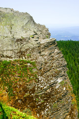 Jagged Rock Cliff Overlooks Gorge