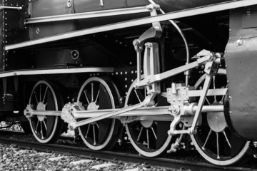 Black and white vintage train , Train wheel