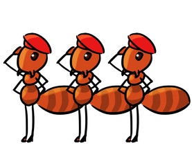 cartoon color animal expression ant salute