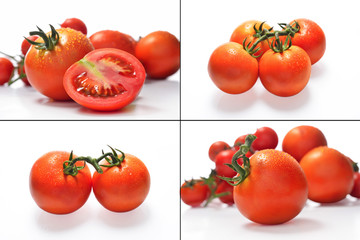 Collection of fresh tomatoes with water drops. Isolated on white