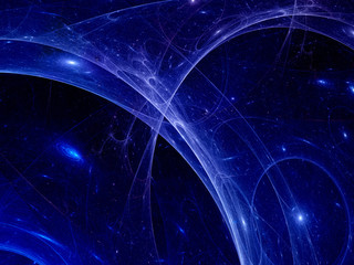 Blue plasma rays in space, abstract background