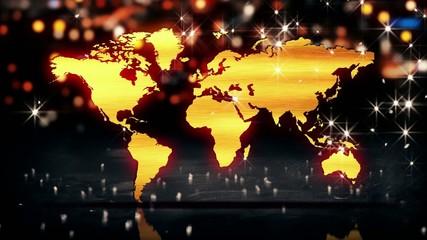 World Map Gold City Light Shine Bokeh 3D Loop Animation