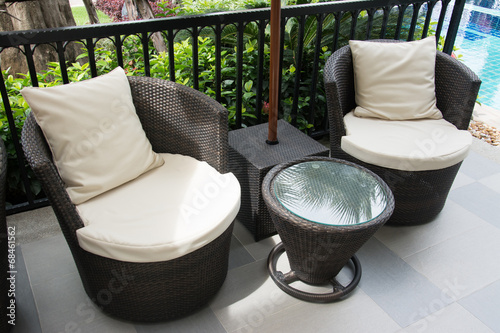 black Rattan armchair - 68461562